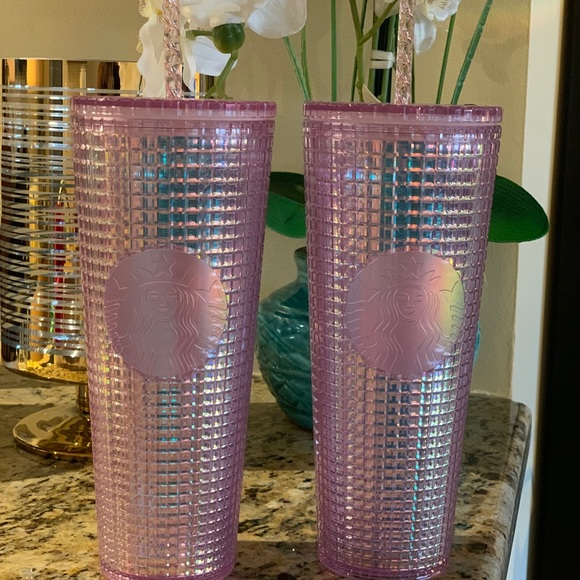 Pink grid Starbucks tumblers (set of two)
